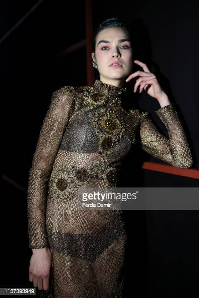 Model is seen backstage at the Ozlem Suer show during Mercedes-Benz Istanbul Fashion Week at Zorlu Performance Hall on March 21, 2019 in Istanbul,...