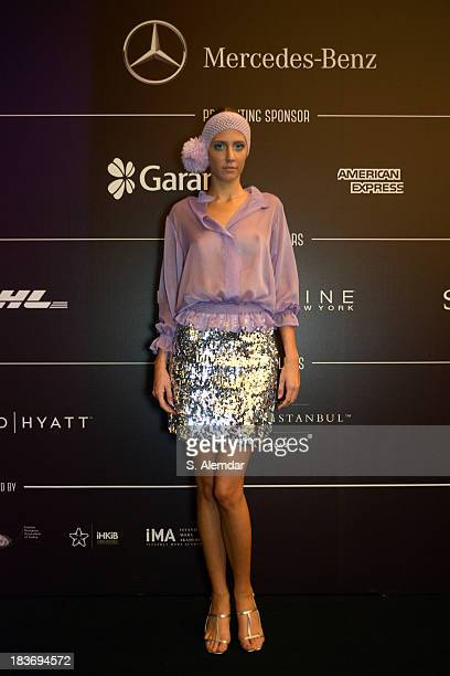 A model is seen backstage at the Selma State show during MercedesBenz Fashion Week Istanbul s/s 2014 presented by American Express on October 9 2013...