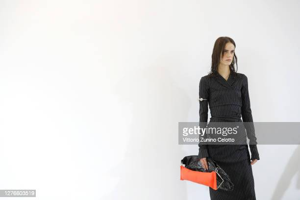 Model is seen backstage at the Sportmax fashion show during the Milan Women's Fashion Week on September 25, 2020 in Milan, Italy.