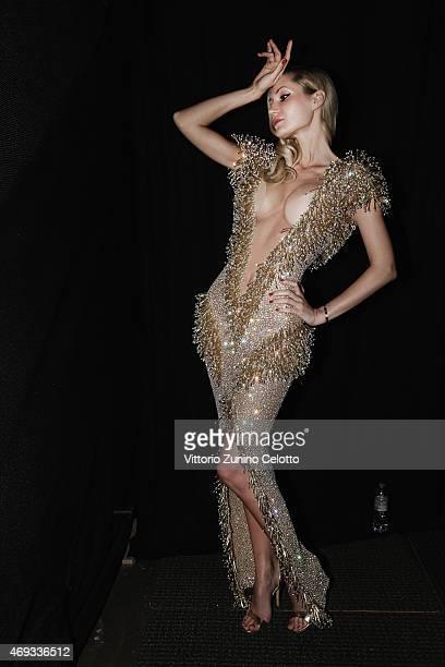 A model is seen backstage at the Yousef AlJasmi show during Dubai Fashion Forward April 2015 at Madinat Jumeirah on April 11 2015 in Dubai United...