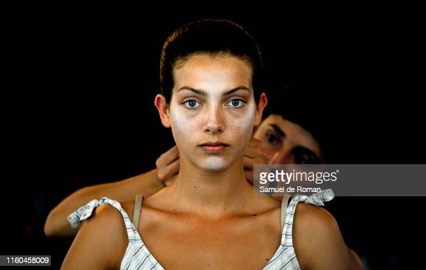 A model is seen backstage before the alaska fashion show during Mercedes Benz Fashion Week Madrid Spring/Summer 2020 at Ifema on July 06 2019 in...
