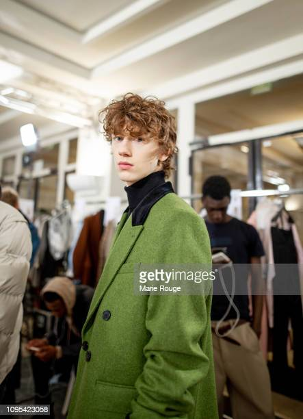 A model is seen backstage before the Ami Alexandre Mattiussi Menswear Fall/Winter 20192020 show at Palais de Chaillot on January 17 2019 in Paris...