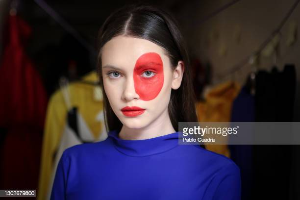Model is seen backstage before the 'Relieve' fashion show at the White Lab Gallery on February 17, 2021 in Madrid, Spain.