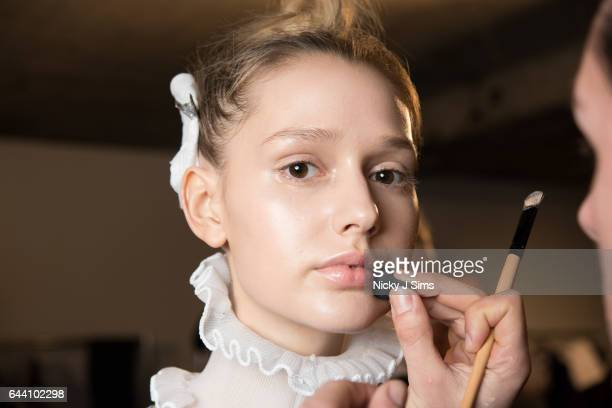 A model is seen backstage before the XIAO LI show on day 5 of London Fashion Week February 2017 collections on February 21 2017 in London England