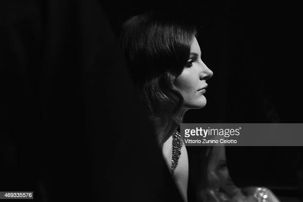 A model is seen backstage before the Yousef AlJasmi show during Dubai Fashion Forward April 2015 at Madinat Jumeirah on April 11 2015 in Dubai United...
