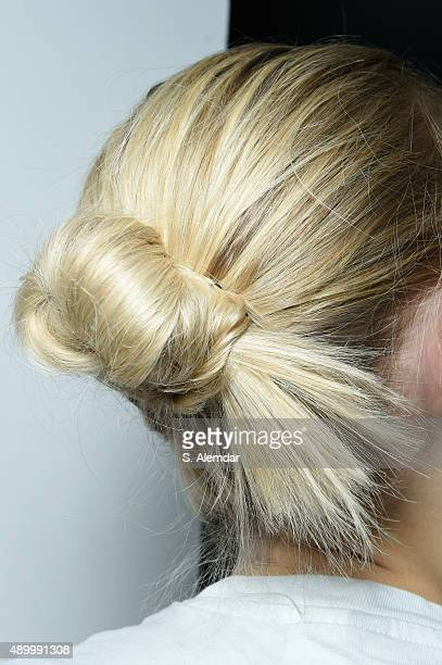 A model is seen backstage detail backstage ahead of the Etro show during Milan Fashion Week Spring/Summer 2016 on September 25 2015 in Milan Italy