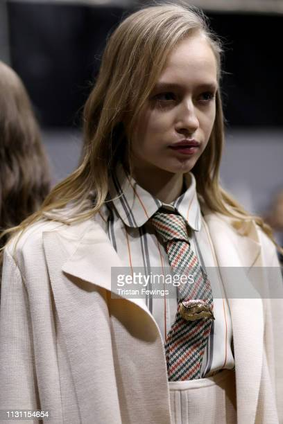 A model is seen backstage during the rehearsal ahead of the Anteprima show at Milan Fashion Week Autumn/Winter 2019/20 on February 21 2019 in Milan...
