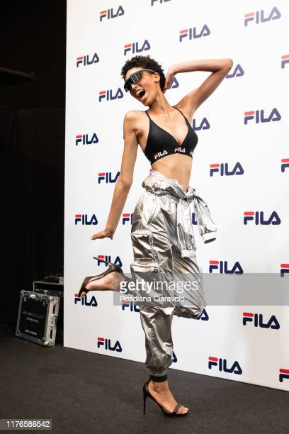 A model is seen backstage for Fila fashion show during the Milan Fashion Week Spring/Summer 2020 on September 22 2019 in Milan Italy