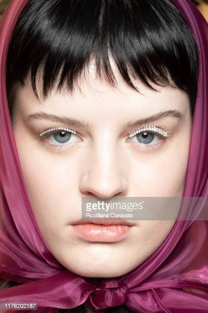A model is seen backstage for Marco De Vincenzo fashion show during the Milan Fashion Week Spring/Summer 2020 on September 20 2019 in Milan Italy
