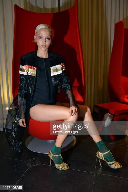 A model is seen backstage on the Ezra Tuba show during MercedesBenz Istanbul Fashion Week on March 21 2019 in Istanbul Turkey