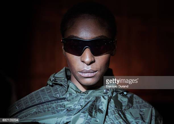 A model is seen Backstage prior the Andrea Crews Menswear Fall/Winter 20172018 show as part of Paris Fashion Week on January 19 2017 in Paris France