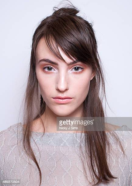 A model is seen backstage prior to the Apu Jan show during London Fashion Week Spring/Summer 2016 at Fashion Scout Venue on September 20 2015 in...