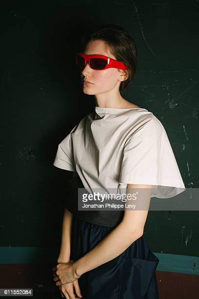 A model is seen backstage prior to the Chalayan show as part of the Paris Fashion Week Womenswear Spring/Summer 2017 on September 30 2016 in Paris...