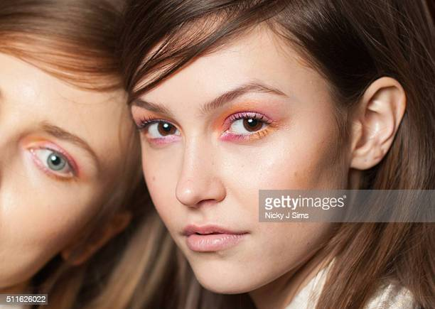 A model is seen backstage prior to the Fashion DNA Pakistan show on day 3 of London Fashion Week Autumn Winter 2016 at Fashion Scout Venue on...