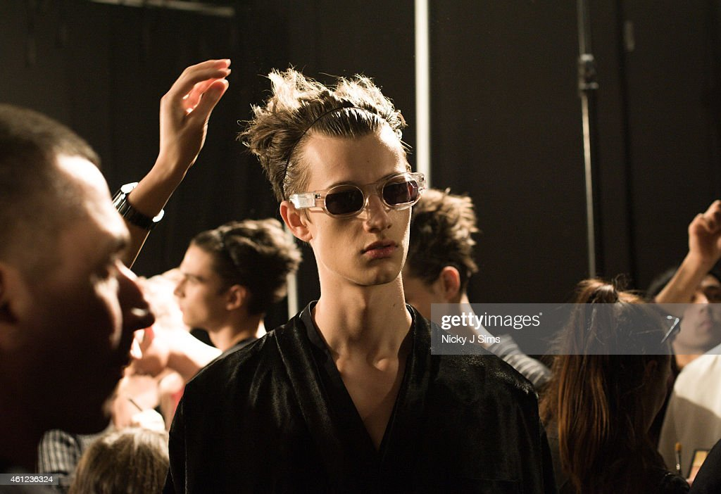 4a306ab926 A model is seen backstage prior to the MAN show on day 1 of London ...