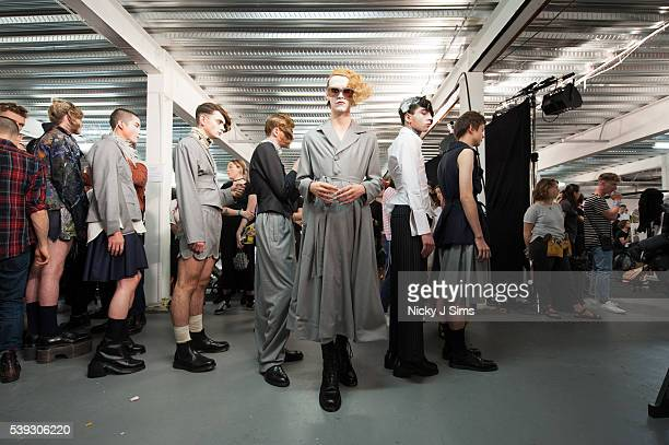 Model is seen backstage prior to the MAN show on day 1 of London Collections: Men Spring Summer 2017 at Topshop Showspace on June 10, 2017 in London,...