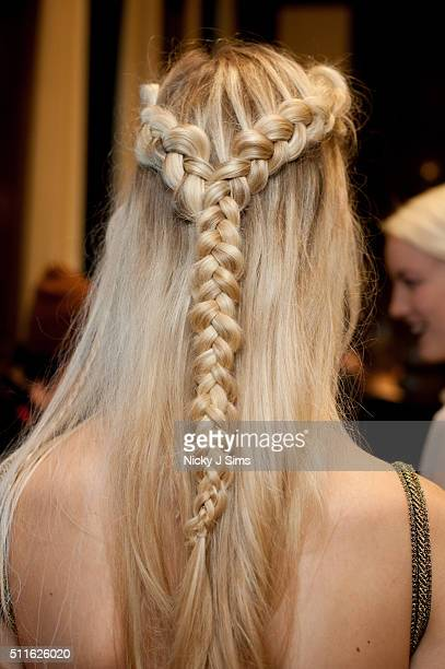 A model is seen backstage prior to the Prophetik show on day 3 of London Fashion Week Autumn Winter 2016 at Fashion Scout Venue on February 21 2016...