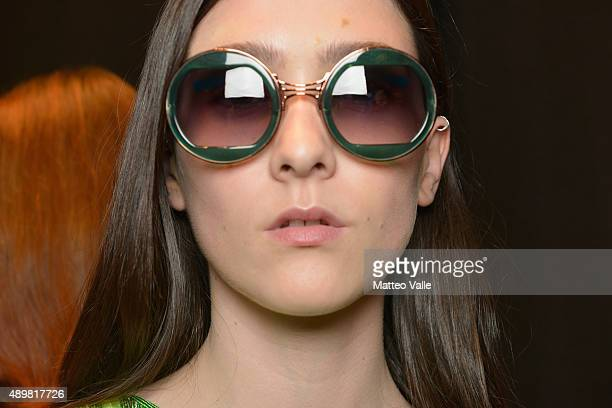 A model is seen detail backstage ahead of the Byblos Milano show during Milan Fashion Week Spring/Summer 2016 on September 24 2015 in Milan Italy
