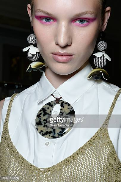 Model is seen detail backstage ahead of the Cividini show during Milan Fashion Week Spring/Summer 2016 on September 26 2015 in Milan Italy
