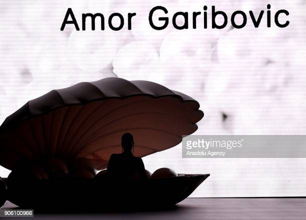 A model is seen during performance fashion show of Amor Garibovic who is last year's winner of Bridal Gown Design Contest at the 12th IF Wedding...
