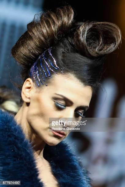 Model is seen during the Balmain Paris Hair Couture - Embracing Diveristy by Antonino Tarantino and Nunzio Di Lauro show at On Hair By Cosmoprof...