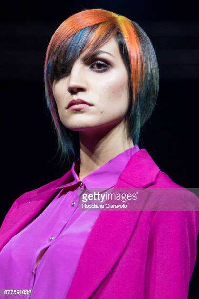 A model is seen during the Framesi What is beauty Beauty is color by Cristiano Leuzzi show at On Hair By Cosmoprof Autumn Edition on November 19 2017...