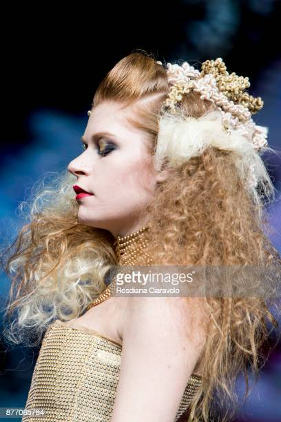 A model is seen during the Freestyle Club Farmaca International Luxus by Anteo Geminiani show at On Hair By Cosmoprof Autumn Edition on November 19...