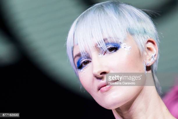 A model is seen during the Hair Company Professional Ocean Lights by Fabio Mostarda show at On Hair By Cosmoprof Autumn Edition on November 19 2017...