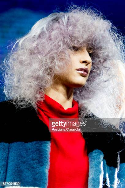 A model is seen during the Kemon Extra Ordinary Karl by Mauro Galzignato show at On Hair By Cosmoprof Autumn Edition on November 19 2017 in Bologna...