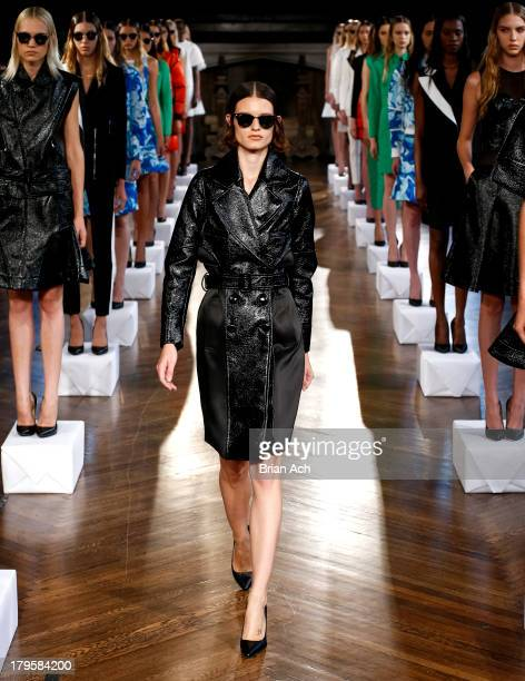 A model is seen during the Koonhor presentation during MercedesBenz Fashion Week Spring 2014 at The Highline Hotel on September 5 2013 in New York...