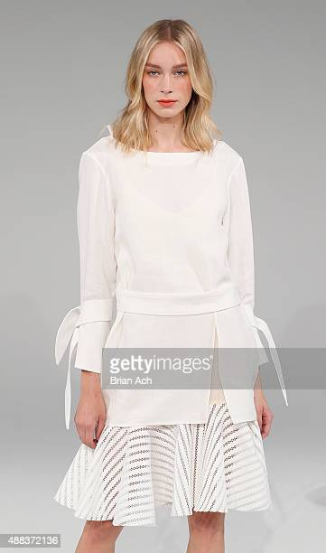 A model is seen during the Pamplemousse presentation during Spring 2016 New York Fashion Week at Pier 59 on September 15 2015 in New York City