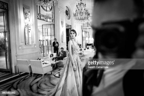A model is seen during the Rami Al Ali Haute Couture Fall Winter 2018/2019 presentation as part of Paris Fashion Week on July 3 2018 in Paris France