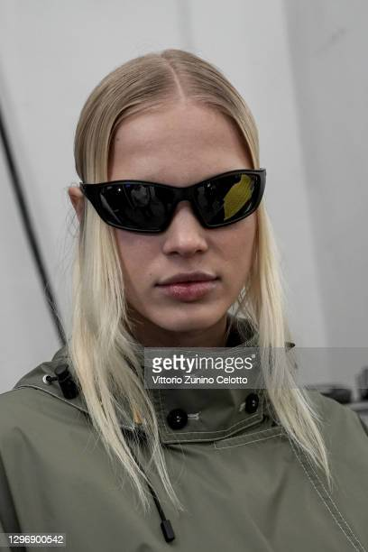 Model is seen in the backstage at the K-Way Fashion Show during the Milan Men's Fashion Week F/W 2021/2022 on January 17, 2021 in Milan, Italy.