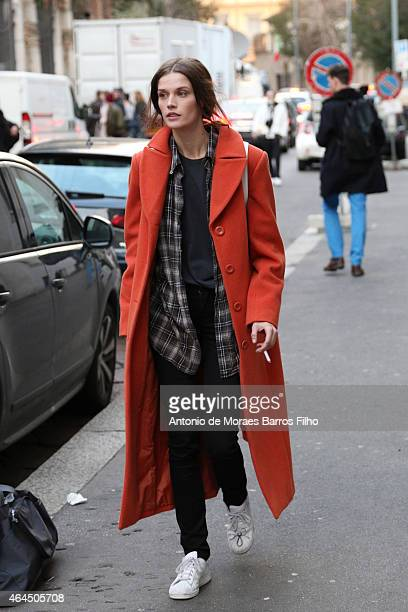 A model is seen in the streets of Milan during Milan Fashion Week 2015 on February 25 2015 in Milan Italy