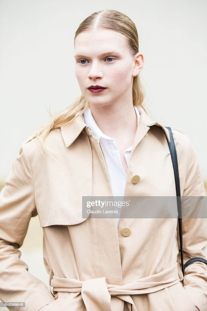Model is seen in the streets of Paris after the Celine show during Paris Fashion Week Womenswear Fall/Winter 2017/2018 on March 5, 2017 in Paris, France.