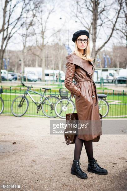 Model is seen in the streets of Paris after the Chanel show during Paris Fashion Week Womenswear Fall/Winter 2017/2018 on March 7 2017 in Paris France
