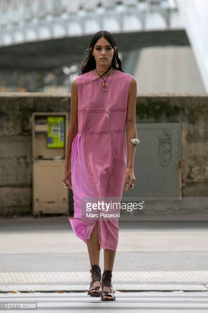 Model is seen on Avenue de New York prior the Chloe Womenswear Spring/Summer 2021 show as part of Paris Fashion Week on October 01, 2020 in Paris,...