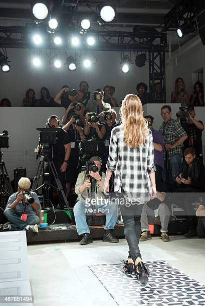 A model is seen on the runway during rehearsal at the Ohne Titel fashion show during Spring 2016 New York Fashion Week The Shows at The Gallery...