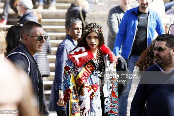Model is seen on the set of the Dolce Gabbana campaign at Piazza Di Spagna on March 14 2018 in Rome Italy