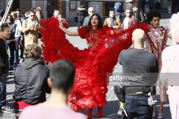 A model is seen on the set of the Dolce Gabbana campaign at Piazza Di Spagna on March 14 2018 in Rome Italy