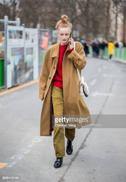A model is seen outside Chanel during Paris Fashion Week Womenswear Fall/Winter 2018/2019 on March 6 2018 in Paris France