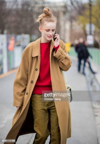 A model is seen outside Chanel during Paris Fashion Week Womenswear Fall/Winter 2018/2019 on March 6 2018 in Paris France