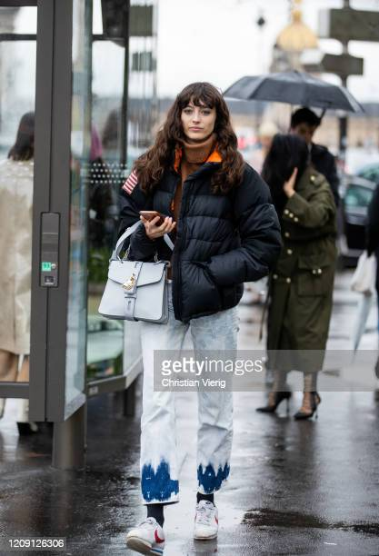Model is seen outside Chloe during Paris Fashion Week - Womenswear Fall/Winter 2020/2021 : Day Four on February 27, 2020 in Paris, France.