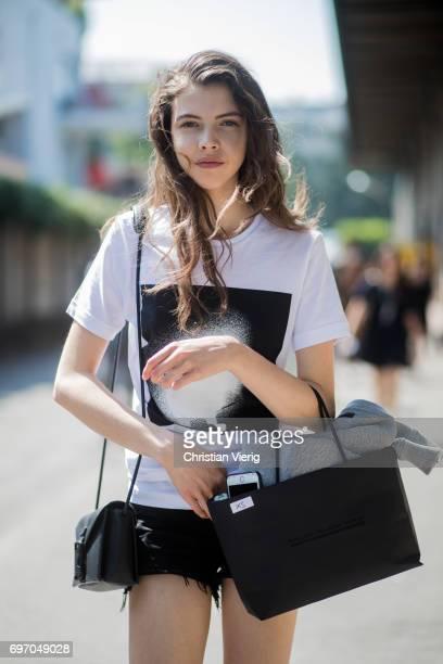 A model is seen outside Diesel during Milan Men's Fashion Week Spring/Summer 2018 on June 17 2017 in Milan Italy