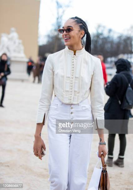 Model is seen outside Dior during Paris Fashion Week - Womenswear Fall/Winter 2020/2021 : Day Two on February 25, 2020 in Paris, France.