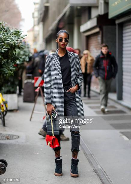 A model is seen outside Dolce Gabbana during Milan Fashion Week Fall/Winter 2018/19 on February 25 2018 in Milan Italy