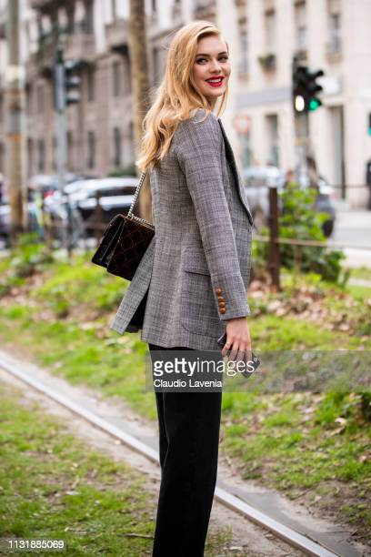 Model is seen outside Dolce Gabbana on Day 5 Milan Fashion Week Autumn/Winter 2019/20 on February 24 2019 in Milan Italy