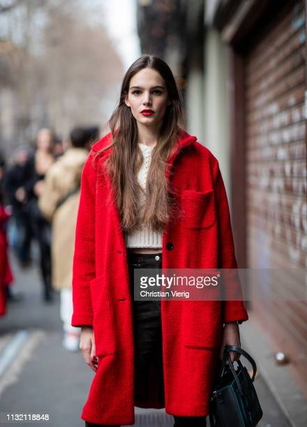 A model is seen outside Dolce Gabbana on Day 5 Milan Fashion Week Autumn/Winter 2019/20 on February 24 2019 in Milan Italy