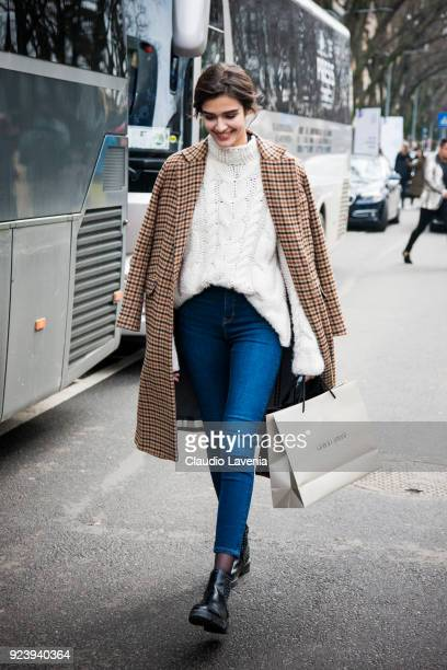 Model is seen outside Giorgio Armani show during Milan Fashion Week Fall/Winter 2018/19 on February 24 2018 in Milan Italy