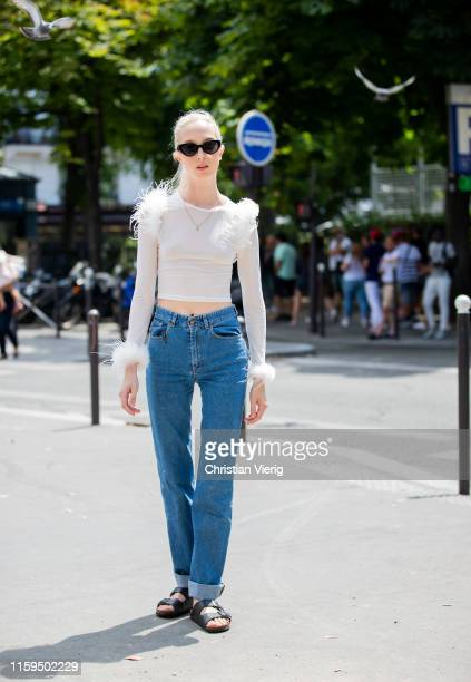 A model is seen outside Iris van Herpen during Paris Fashion Week Haute Couture Fall/Winter 2019/2020 on July 01 2019 in Paris France